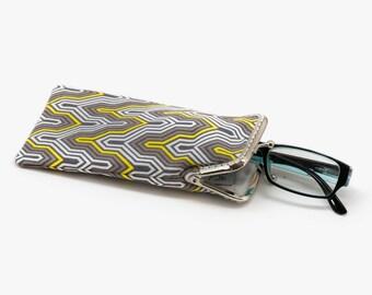 Mini glasses Case - Reading glasses Case - Yellow and Gray cotton fabric - Kiss Lock Silver Frame