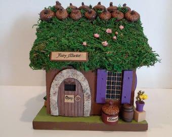 "FAIRY HOUSE OOAK ""Fairy Market"" Miniature Fairy Garden House Fae Dwelling"