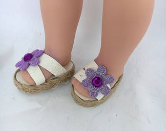 14.5 inch slide on sandals made to fit 14.5 inch dolls such as Wellie Wishers and similar size dolls