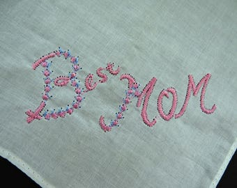 Vintage BEST MOM Handkerchief Hanky Hankie - Pink Blue Embroidery on White - Collectible - Wedding Birthday Mothers Day Gift Idea