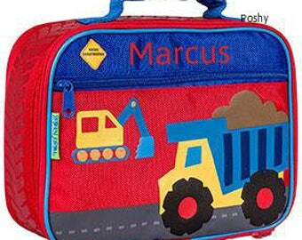 Personalized Lunch Box Bag Stephen Joseph, kids lunch box, Construction RED NEW