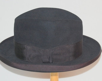 Vintage 50's Lee Fifth Avenue White Label Fedora Hat Black Fur Felt Size 7 1/8