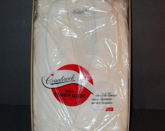 40s 50s Mens Terry Cloth Robe Deadstock New In Package 100% Cotton Wedding Gift Hudsons Detroit XL Rare