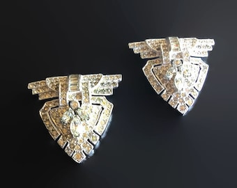 Rhinestone Dress Clips (2) 1920s Art Deco Bride Wedding Formal Black Tie