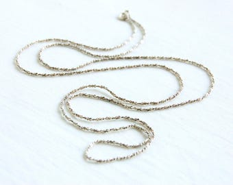 Sterling Silver Chain 30 Inch 2mm Twisted Serpentine Necklace Vintage Italian Silver