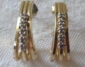 Vintage dressy earrings half hoops with rhinestones