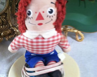 Raggedy Ann Raggedy Andy lamp vintage 1973 bedroom nursery lamp wrstern look shade vintage boy bedroom Raggedy Andy lamp