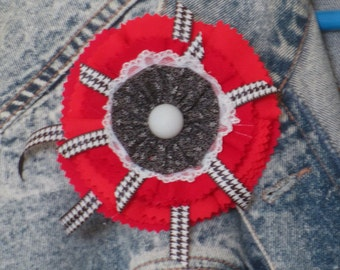 Red black white fabric pin/brooch