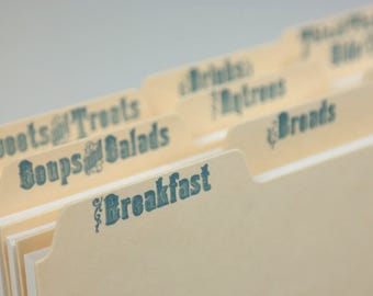 Letterpress Recipe Card Dividers - Set of 9 - Argent Manila