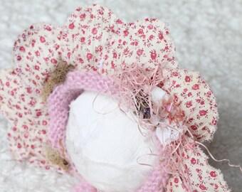 New Born Flower Bonnet  , up cycled bonnet  ,photo prop