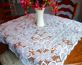Sheer Tablecloth Lace Trim Vintage White Table Cover Floral Table Linens