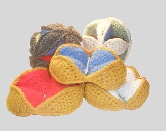 Amish Puzzle Ball. Hand crocheted multi color toddler toy.