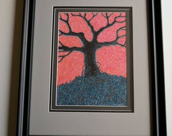 "Original Framed Ink and Marker Drawing ""Asking For The World"" Tree Drawing"