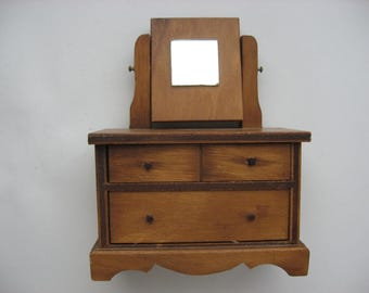 Vintage Hall's Lifetime Toys Doll Dresser/Chest of Drawers w/ Mirror//1960s//Collectible Miniature Doll Furniture//Hand Made Furniture