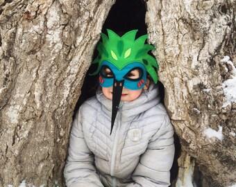 Hummingbird mask / Felt Mask / Exotic Bird Mask / Magical Mask / Tree + Vine