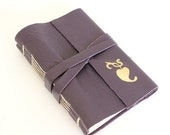 ON SALE Purple Leather Journal Sketchbook with Gilded Heart