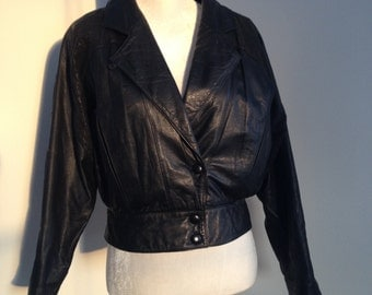 Black Leather Cropped Ladies Jacket