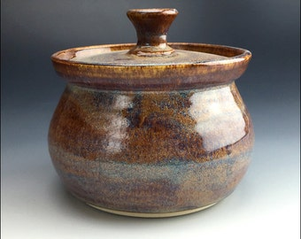 small signed pottery CANISTER with lid | reactive blue and brown drippy glaze; serving or storage jar