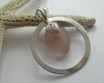 Light Pink Sea Glass Sterling Silver Circle Necklace