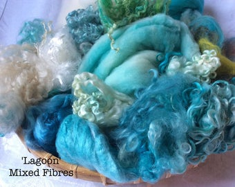 Dyed British Rare Breeds & Mixed Fibres for Blending. 235gms. Spinning, Felting supply. Merino, Teeswater, silk. 'Lagoon' Colourway