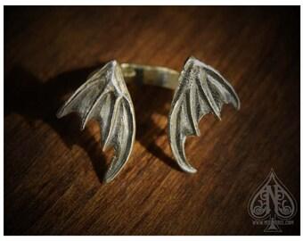 OOAK Ring Sterling silver Big Dragon Bat Wings