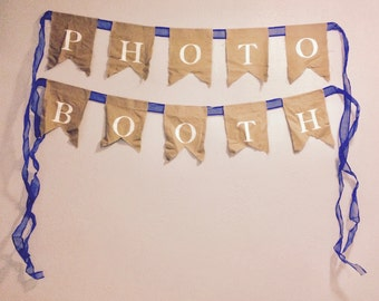 """Natural Burlap """"Photo Booth"""" Bunting with Blue Ribbon Handmade One of a Kind"""