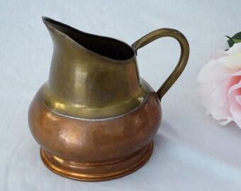 Vintage Hammered Brass Pitcher Maudoux Dinant Belgium, Old Marked Brass & Copper Pitcher, Vintage Hammered Copper