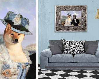 Shiba inu Art Print Canvas Fine Artwork Gallery Wrap or Museum Wrap Canvas Dog Print by Nobilit...