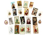 Lot Vintage Holy Cards Religious Paper Christian Crafts Jesus Pictures Mother Mary Virgin Sacred Heart Lady of Perpetual Help Anna Maria