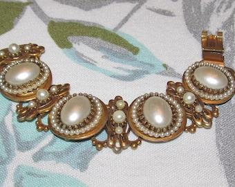 Vintage Faux Pearl Bookchain Bracelet -Antique Golden Brass