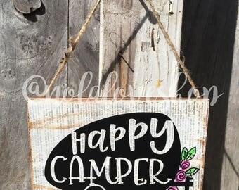 Happy camper sign| rustic camper sign| happy camper| rustic camping sign| glamper| glamping| camper sign| camper door hanger| camping