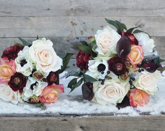 Wedding Bouquet Set, Wildflower Bouquet made with Marsala Ranunuclus, Lavender, Roses, and Ruscus, Berries and Eggplant Callas.