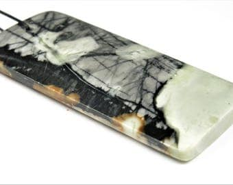 Abstract Beauty ~ Woods in the Snow ~ Large Scenic Gorgeous Picasso Marble Rectangle Pendant - 61 mm x 28.5 mm x 6 mm - B7054