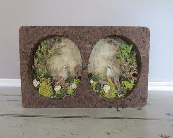 Original NatureCraft Rustic Woodland Nature Scene Birds and Dried Flower Diorama Nature Art