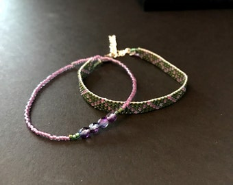 Purple and green seed bead and loom bracelet set