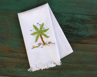Palm Tree Embroidered Hand Towel, Vintage Linens, Embroidered Linens, Vintage Embroidered Linens, Tropical Decor