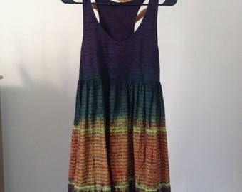 shibori dyed tie tank dress medium ombre blrown navy indian fabric marrakesh Smal medium S M