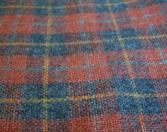 "Vintage 1-1/8 Yd 100% Wool Plaid Yardage Med. Rust, Light & Med. Gray with Orange 56"" wide"