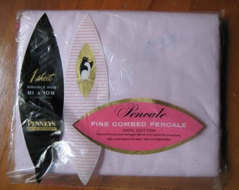 Vintage Pink Fine Combed Percale Sheet Full Size Flat