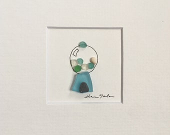 Sea glass Art by Sharon Nowlan, Retro Art, Teen Gift Idea, Geek art, Teen Room decor, Mini Pebble Art
