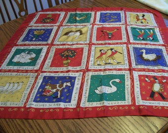 """Vintage 12 Days of Christmas Scarf Colorful Ladies Holiday Scarf 34"""" Square 16 Squares Depicting the 12 Days of Christmas Holiday Accessory"""