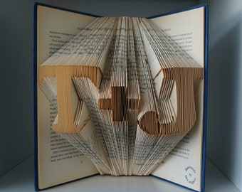 Paper anniversary gift for him-Initial book origami-made to order-Folded Book Art-gift for newlywed-gift wrapped