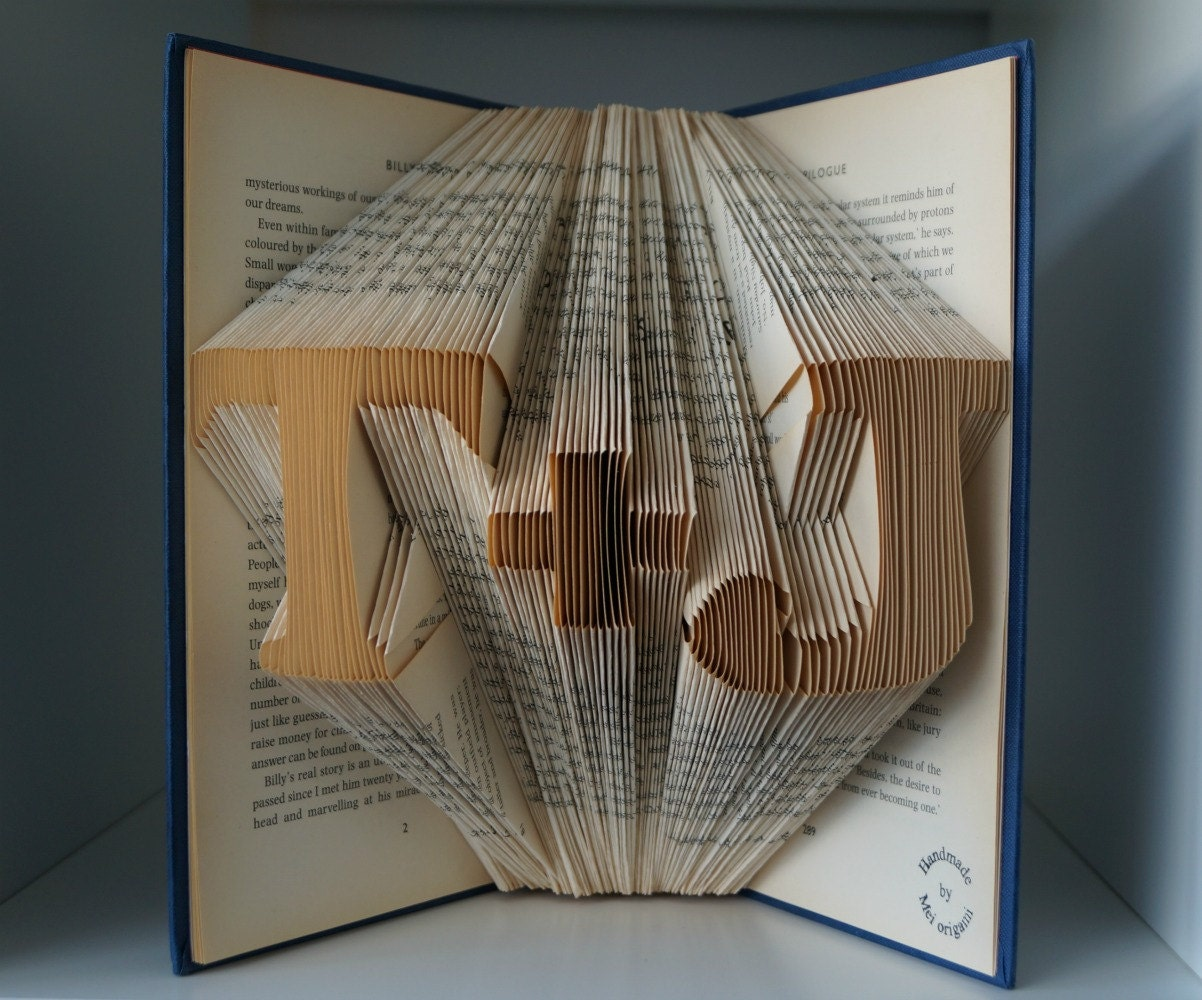 Paper Anniversary Gift Ideas: Paper Anniversary Gift For Him-Initial Book Origami-made To