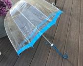"Retro Clear Bubble Umbrella Dome Blue Trim and Handle, See-Through Umbrella, Transparent Plastic Umbrella, 29"" Umbrella, Umbrella"