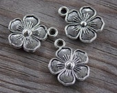 12 Antiqued Silver Flower Charms 16mm