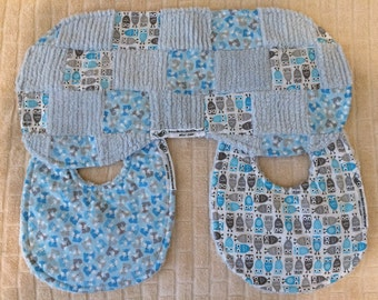 bitsybasics blue foxes and owls bibs and burpcloth