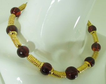 1980s Runway Modernist Necklace Amber Lucite Goldtone Fish Scales Signed Mali Made in Italy