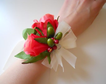 Fuchsia Pink Roses Wrist Corsage with Rhinestone Accent