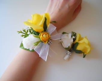 Green Rose Wrist Corsage with Gray/Silver Accent and Matching Bout Set