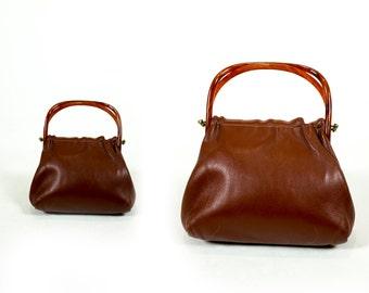 Vintage 1960s Tortoiseshell Plastic Top Handle Almond Brown Vinyl Clutch Handbag
